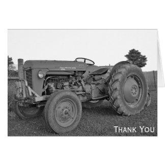 Antiker Traktor in Schwarzweiss danken Ihnen zu Karte