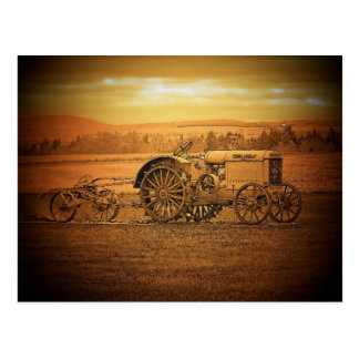 Antiker Traktor Postkarte