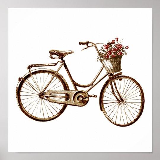 antiker vintager fahrrad korb blumen rosen druck poster zazzle. Black Bedroom Furniture Sets. Home Design Ideas
