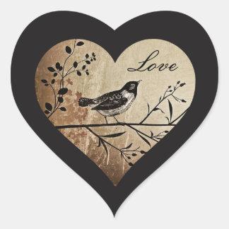 Antiker Vogel-Liebe-Herz-Aufkleber Herz-Aufkleber