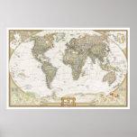 Antiker Weltkarteplakatdruck