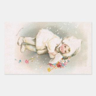 Antiker Winter-Schnee-Baby-Aufkleber Rechteckiger Aufkleber