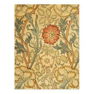 Antikes altes Blumenmuster Postkarte