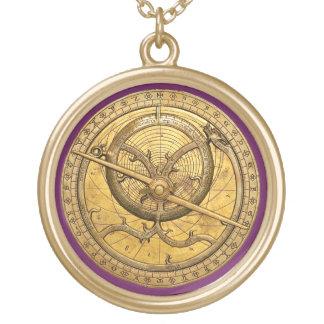 Antikes Astrolabe-Goldendrunde Halskette