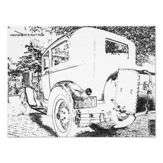 Antikes Auto als Skizze-Fotodruck Kunst Foto