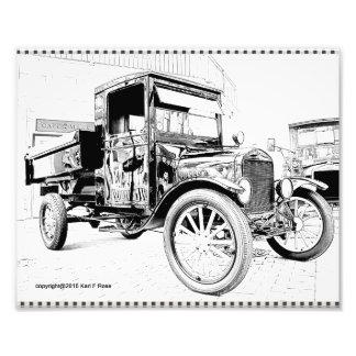 Antikes Auto als Skizze-Fotodruck Photodrucke
