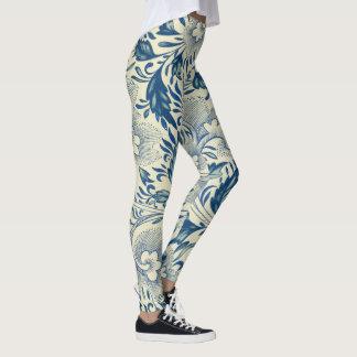 Antikes blaues u. weißes orientalisches leggings