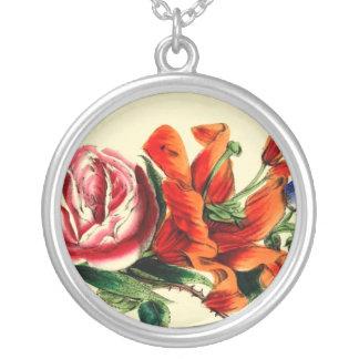 Antikes Blumenmuster Halskette Mit Rundem Anhänger