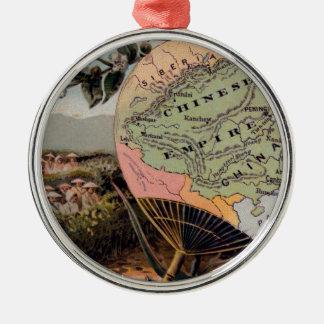 Antikes China-Karten-chinesisches Reich-absolute Silbernes Ornament