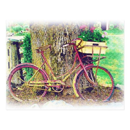 Antikes Fahrrad mit Blumen-Korb Postkarte