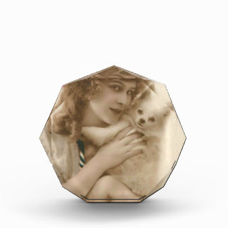 Antikes Foto-viktorianische Frau und Hund Acryl Auszeichnung