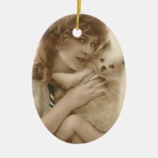 Antikes Foto-viktorianische Frau und Hund Keramik Ornament