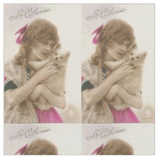 Antikes Foto-viktorianische Frau und Hund Stoff