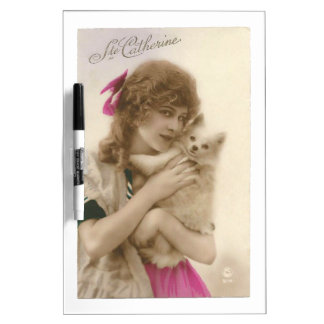 Antikes Foto-viktorianische Frau und Hund Trockenlöschtafel