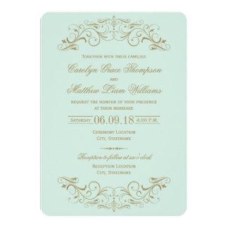 Antikes Gold der Hochzeits-Einladungs-| blühen Individuelle Einladungen