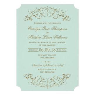 Antikes Gold der Hochzeits-Einladungs-| blühen 12,7 X 17,8 Cm Einladungskarte