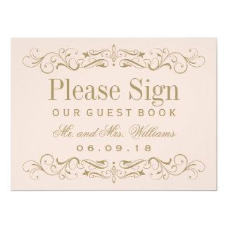 Antikes Gold des Hochzeits-Gast-Buch-Zeichen-  Karte