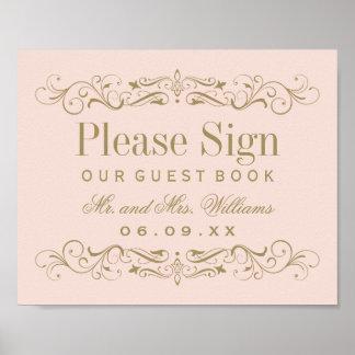 Antikes Gold des Hochzeits-Gast-Buch-Zeichen-| Poster