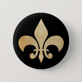 Antikes Gold und schwarzer Lilien-Knopf Runder Button 5,7 Cm