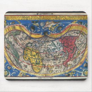 Antikes Herz-geformte Weltkarte durch Peter Apian Mousepads