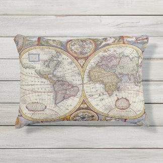 Antikes illustrierte Kartographie der Kissen Für Draußen