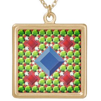 Antikes Juwel-Mosaik Halskette Mit Quadratischem Anhänger