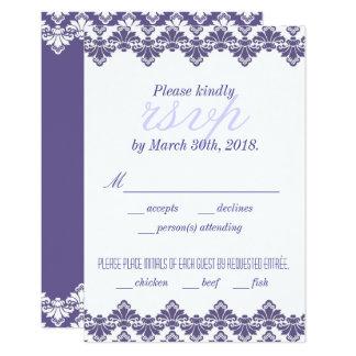 Antikes Menü Damast-Hochzeit UAWG Karten-w lila 8,9 X 12,7 Cm Einladungskarte