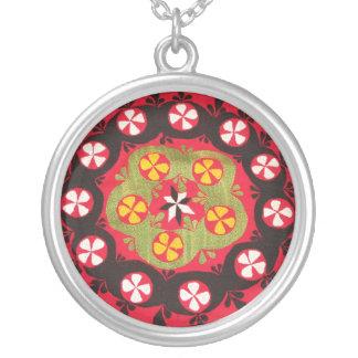Antikes Osmane-Stickerei-Türkische-Blumenmuster Halskette Mit Rundem Anhänger