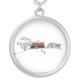 Antikes RV-Camper-und -auto-Zeichnen Halskette Mit Rundem Anhänger