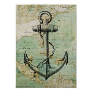 Antikes Seekarten-u. Anker-Plakat Poster