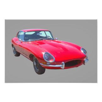 Antikes Sport-Auto 1964 Rot-Jaguars XKE Fotodruck