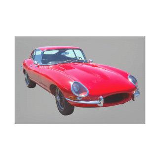 Antikes Sport-Auto 1964 Rot-Jaguars XKE Gespannter Galeriedruck