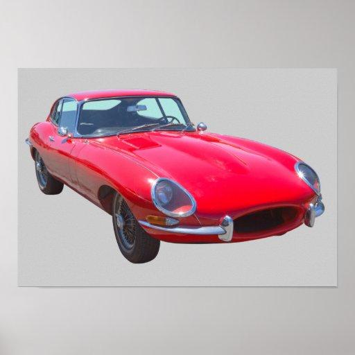 Antikes Sport-Auto 1964 Rot-Jaguars XKE Poster