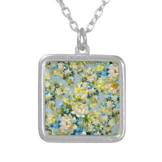 Antikes weißes Blumenmuster Halskette Mit Quadratischem Anhänger