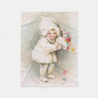 Antikes Winter-Schnee-Baby u. Blumen-Fleece-Decke Fleecedecke