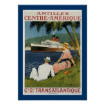Antillen-Mitte Amerique Plakat