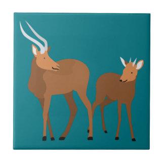 Antilopen-Mamma und Baby Fliese