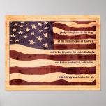 Antiqued Flagge mit Bürgschaft des hölzernen Blick Plakatdrucke