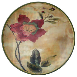 Antiqued viktorianischer Hibiskus Teller