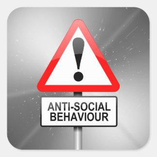 Antisoziale Warnung Quadratischer Aufkleber