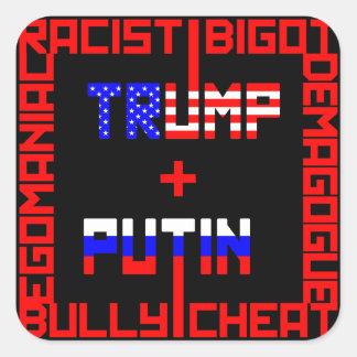 AntiTrumpf+Putin Quadratischer Aufkleber