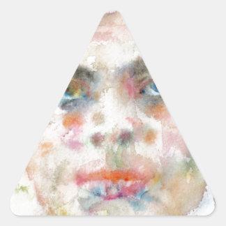 Antoine de saint exupery - Aquarellporträt Dreieckiger Aufkleber