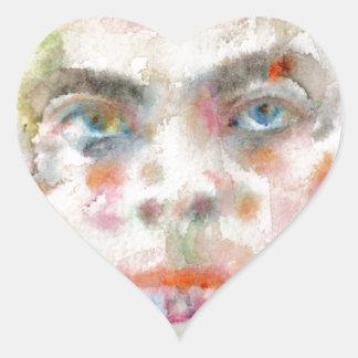 Antoine de saint exupery - Aquarellporträt Herz-Aufkleber