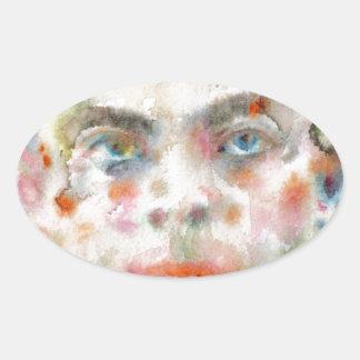 Antoine de saint exupery - Aquarellporträt Ovaler Aufkleber