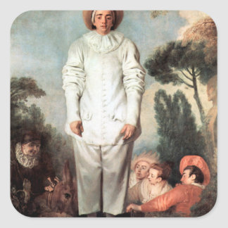 ANTOINE WATTEAU - Pierrot (Gilles) 1718 Quadratischer Aufkleber