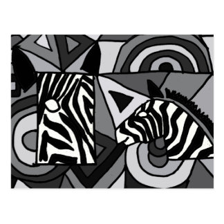 ANZEIGE abstrakte KunstZebras Postkarte