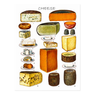 Anzeige der Arten des Käses Postkarte