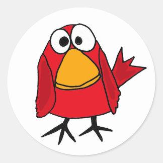 ANZEIGE lustiger trauriger Kardinals-Vogel-Cartoon Runder Aufkleber