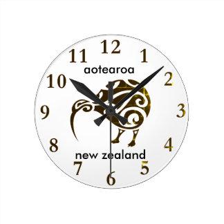 aotearoa Neuseeland-Kiwi Runde Wanduhr