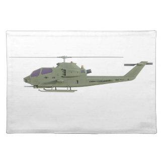 Apache-Hubschrauber im Seitenansichtprofil Tischset